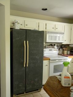 chalkboard paint fridge - cool idea!  too bad I have a new fridge.. don't think the hubby would go for it!