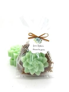 Succulent Soap Gift Shea Butter Soap Succulent Wedding Favors Baby Shower Soap Favors Pink and Mint Baby Shower Soap Gift Bag