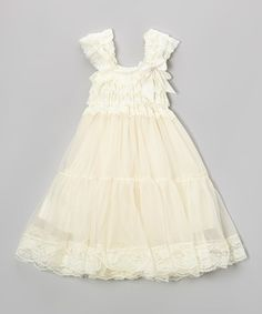 Love this Ivory Lace Babydoll Dress - Infant, Toddler & Girls on #zulily! #zulilyfinds