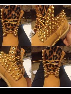 Spiked timberland custom made adult sizes 6.5 and up. $300,00, via Etsy.