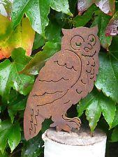 Edelrost Eule mit Dorn Dekoration Garten Baum Terrasse Metall Vogel Uhu Herbst