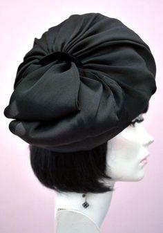 Vintage 60s Edna Wallace Black Silk Turban Hat