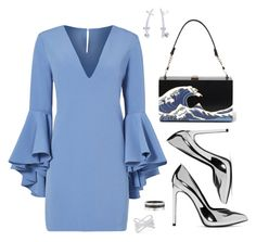 Chrome Waves by lordlauren on Polyvore featuring Milly, Yves Saint Laurent, Effy Jewelry, Cartier, BERRICLE, Blue, chrome and metalic