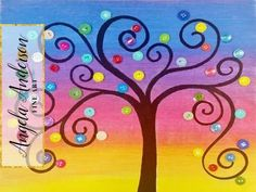(56) Rainbow Button Tree Acrylic Painting Tutorial | LIVE Summer Art Camp for Kids | Day 2 - YouTube