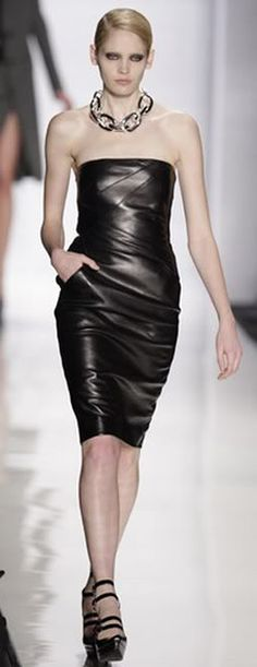 Michael Kors Clothing Hot Strapless Leather Dress Fall 2009 Runway Pic