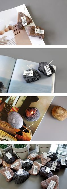 Round, sharp, and basalt shaped stone candles. These are good interior items in your place.   #candle #design #nature #stone #atelier #cocomellow