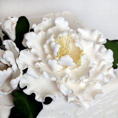 Large white gumpaste peony spray arrangement handmade cake decoration. Caljava