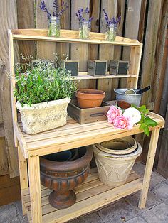 at the picket fence - potting bench