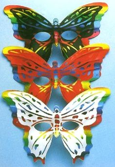 Mardi Gras & Purim Carnival Butterfly Mask w Iridescent Painted Details Black #BAC