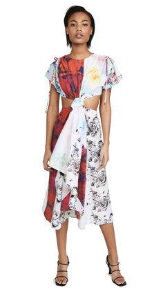 Prabal Gurung Printed Silk Cutout Midi Dress In Multi Prabal Gurung, Donna Karan, Dress First, Dress Outfits, Dresses, Flutter Sleeve, World Of Fashion, Cold Shoulder Dress, Women Wear