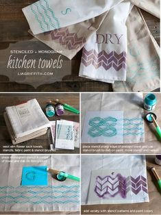 DIY monogrammed and stenciled kitchen towels Monogram Stencil, Monogram Towels, Diy Monogram, Craft Tutorials, Diy Projects, Craft Ideas, Weaving Projects, Knitting Tutorials, Knitting Patterns