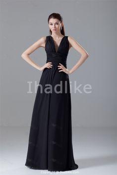 Elegant Black Floor-Length Chiffon V-neck Petite Bridesmaid Dresses -Bridesmaid Dresses