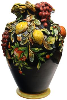 A true work of art! Italian ceramic floor vase - Frutta Fonda Nero style (black with fruit in relief) click the image or link for more info.