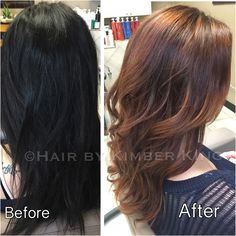 Love this before and after. From a harsh black to softer, shade with lots of dimension! No breakage thanks to olaplex!!