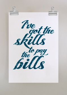 Skills to Pay The Bills  poster in blue by dearcolleen on Etsy, $25.00