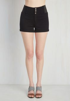 Memphis Marvel Shorts. Style these black knit shorts and board a plane to the home of the Delta blues - before you even land, youll be ready to jam! #black #modcloth