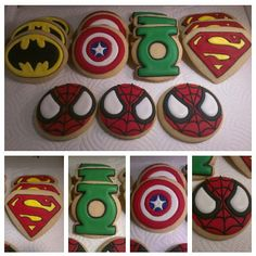 Superhero Cookies....(Spiderman, Batman, Captain America, Green Lantern, Superman) Cookies...GreeksNSweets. $26.00, via Etsy.