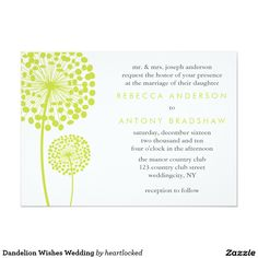 Dandelion Wishes Wedding 5x7 Paper Invitation Card