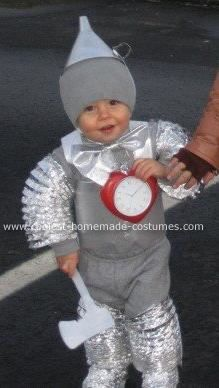 The Tin Man Costume ~ Dryer vents worked great for this Tin Man costume. The hat and turtleneck were spray painted with a metallic paint and the hat is a funnel also spray painted.