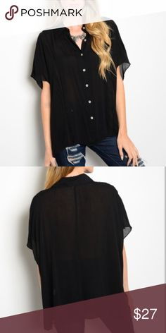 Black button-up blouse, NWT Black button-up blouse, NWT. 🚧🚨*please note: this item MAY take 7-10 days to ship out Tops Button Down Shirts