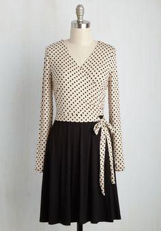 City Councilor Dress - Black, Tan / Cream, Polka Dots, Print, Work, A-line, Twofer, Long Sleeve, Fall, Knit, Better, Mid-length