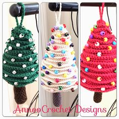 Tree Ornaments, step-by-step tutorial by Annoo's Crochet World. ♥