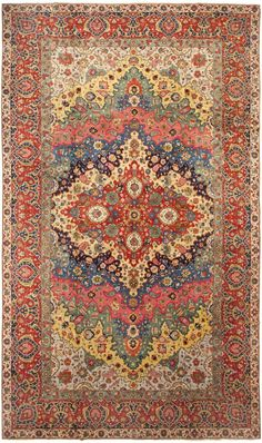 Antique Persian Tabriz Rug 46383 Detail/Large View