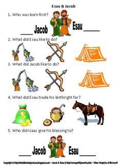 Genesis printable Worksheets - Jacob & Esau, Creation, Adam & Eve, Noah, Cain & Abel, Tower of Babel, Abraham & Sarah, Isaac & Rebekah, Jacob's Ladder, Jacob's Family, Joseph's Coat, Joseph in Prison