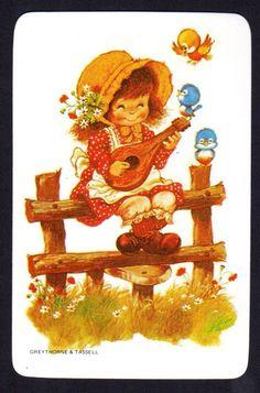 Vintage Swap Card Cute Girl Playing Music Blank Back | eBay
