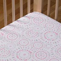 Living Textiles Cotton Poplin Fitted Sheet - Pink Confetti