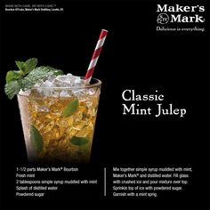 Kentucky Derby Day-Classic Mint Julep - This cocktail is as much a part of Southern culture as hospitality. With pronounced sugar and mint notes, the Mint Julep goes exceedingly well with long summer days, horses, pretty hats and good company. Party Drinks, Fun Drinks, Alcoholic Drinks, Beverages, Refreshing Drinks, Bourbon Cocktails, Cocktail Drinks, Cocktail Recipes, Drink Recipes