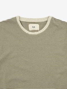 Folk Folk 1x1 Stripe Shortsleeve T-Shirt - Olive/Ecru Melange - White