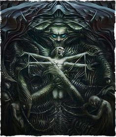 Original art from the Tormentum: Dark Sorrow game. Hr Giger Art, Dark Fantasy Art, Fantasy Paintings, Fantasy Artwork, Vampires, Giger Alien, Dark Art Illustrations, Arte Cyberpunk, Satanic Art