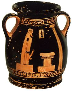 Herm. Red-figure pelike. Attic. By the Bowdoin Painter. Clay. 480—475 B.C. Height 10.6 cm, diameter of rim 6.9 cm. Inv. No. Б. 4515.Saint-Petersburg, The State Hermitage Museum.