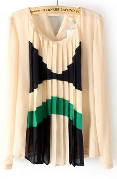 Beige Pleated Front Cut Out Back Chiffon Blouse by Bernard Lafond