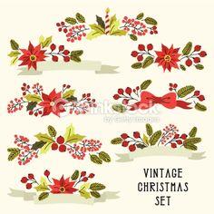 Arte vectorial : Flor Vintage Navidad