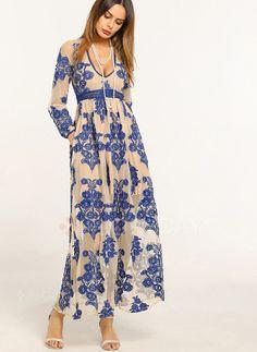 Dress - $66.54 - Embroidery V-Neckline Long Sleeve Maxi Shift Dress (01955228294)