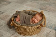 Купить Корзина канатная для съемки новорожденных / реквизит - бежевый, корзина для съемки, для новорожденных, для новорожденного