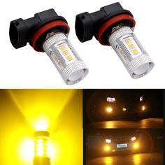 H11 H8 H16 LED Fog Light Bulb Replacement Error Free Projector For 12-24V Vehicles Golden Yellow (Pack of 2)