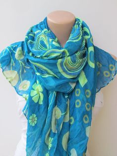 Blue Green Floral Scarf Lightweight Spring by YADISHACCESSORIES