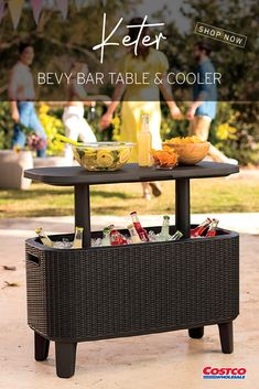 Whether you're hosting an outdoor party, a family celebration, or watching the game with friends, the Bevy Bar provides the ultimate refreshment station. Keep beverages and snacks flowing with the 2-in-1 station featuring a chill compartment and a pop-up serving table. Easy to clean and maintain, the Bevy Bar is made from durable, weatherproof and UV-protected resin. Shop now at Costco.com.