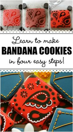 Until recently, bandana print cookies were quite a project. But now, thanks to the stencil revolution, you can make gorgeous bandana cookies in a fraction of the time. To make these cookies you will need: Farm Cookies, Iced Cookies, Cut Out Cookies, Cute Cookies, Onesie Cookies, Cookie Icing, Royal Icing Cookies, Cupcakes, Cupcake Cookies