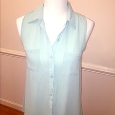 Sans Souci Aqua blue Blouse Sans Souci Aqua  blue Blouse with silver bead detail on the back. Sans Souci Tops Blouses