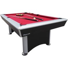 Ft Pool Table With Red Burgundy Wool Top And Fringe Drop Pockets - Red top pool table