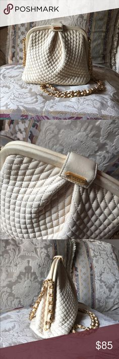 Vintage Bally bag Vintage Bally cream quilted leather hand bag with gold and leather intertwined chain, can be worn as crossbody. Cute as ever in Great condition, clean inside and out. Minor wear pictured, leather in chain has some wear not major and a little dirty..VINTAGE still a beautiful bag!! I love it!!! Pls ask all questions prior to purchase 😊AUTHENTIC Bally Bags Crossbody Bags