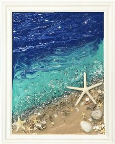 Seashell Art, Seashell Crafts, Beach Crafts, Sea Glass Crafts, Sea Glass Art, Broken Glass Crafts, Crushed Glass, Wave Art, Window Art