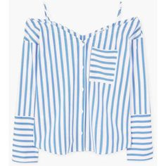 MANGO Striped off-shoulder blouse found on Polyvore featuring polyvore, women's fashion, clothing, tops, blouses, mango shirts, shirt top, off-the-shoulder blouses, off shoulder shirt and off shoulder tops