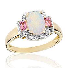Opal, Pink Tourmaline and Diamond Ring 1/10ctw   Shop REEDS Jewelers