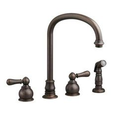 American Standard, Hampton Bottom Mount 2-Handle Side Sprayer Kitchen Faucet in Oil Rubbed Bronze, 4751732.224 at The Home Depot - Mobile