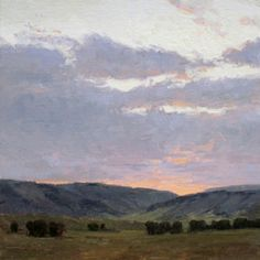 Day's End - Original Oil Painting by Carole Cooke - 10 x 10 - $1,900 Available for purchase at JBArtConsultants.com Sky Painting, Western Art, Sculpture, Paintings, Oil, Artists, Mountains, Paint, Painting Art